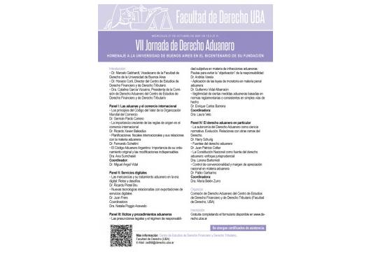 Argentina - VII Jornada de Derecho Aduanero.